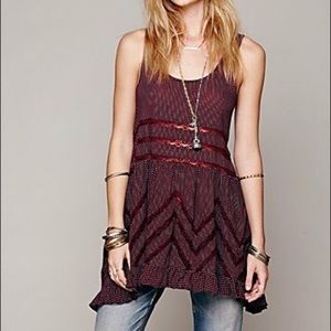 Free People voile and lace trapeze slip burgundy